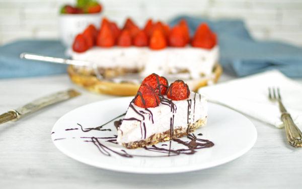 cheesecake vegan fragole