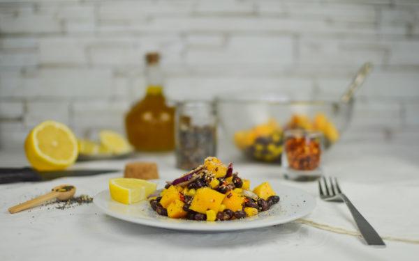 insalata fagioli neri e pesche