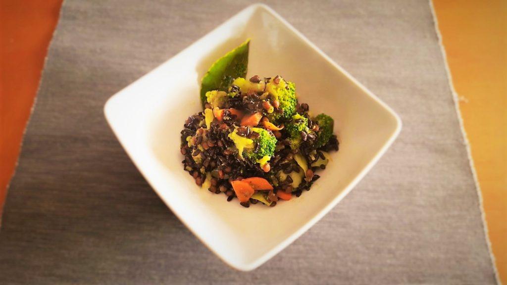 riso nero e lenticchie