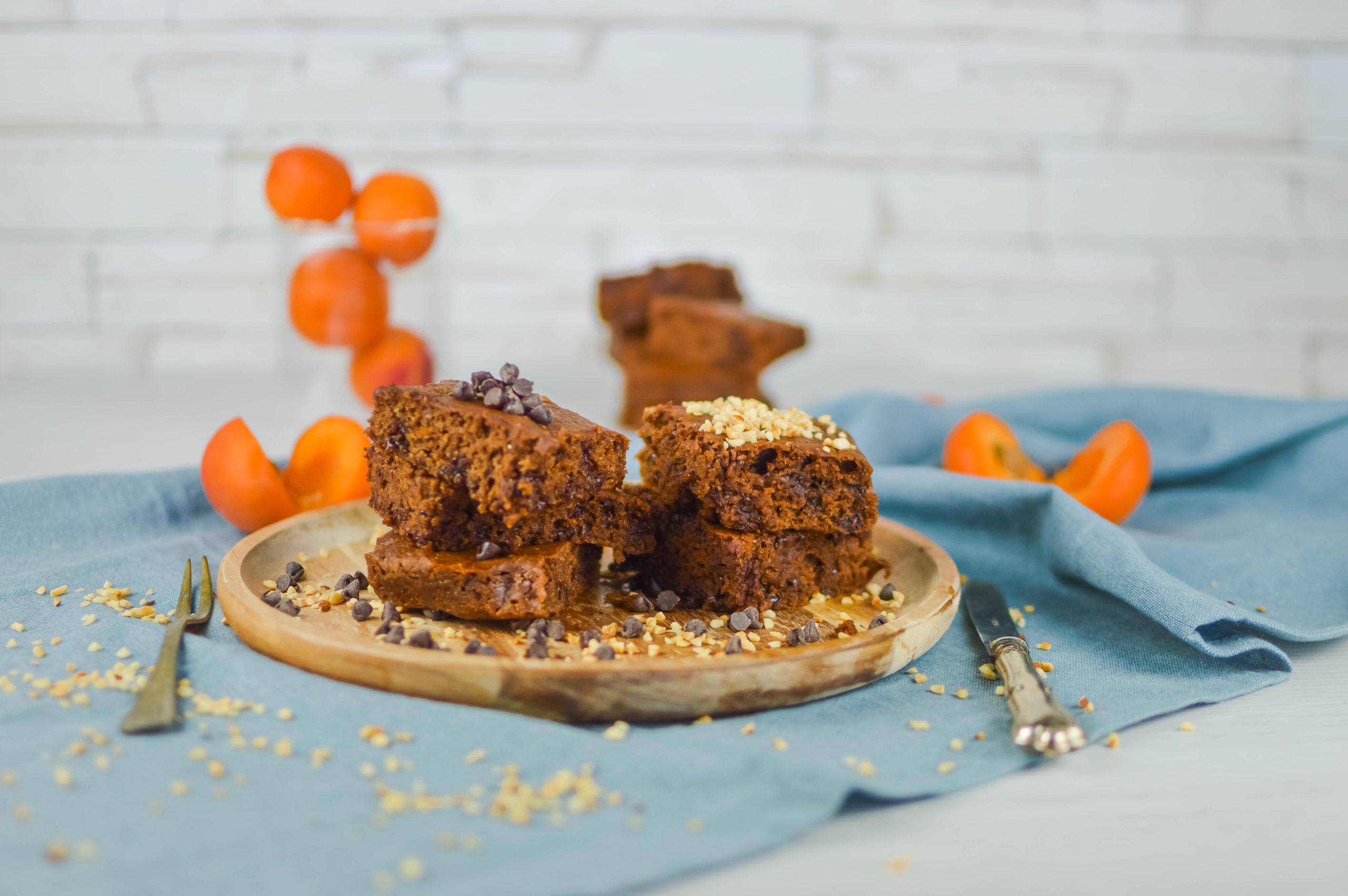 brownies vegan con albicocca
