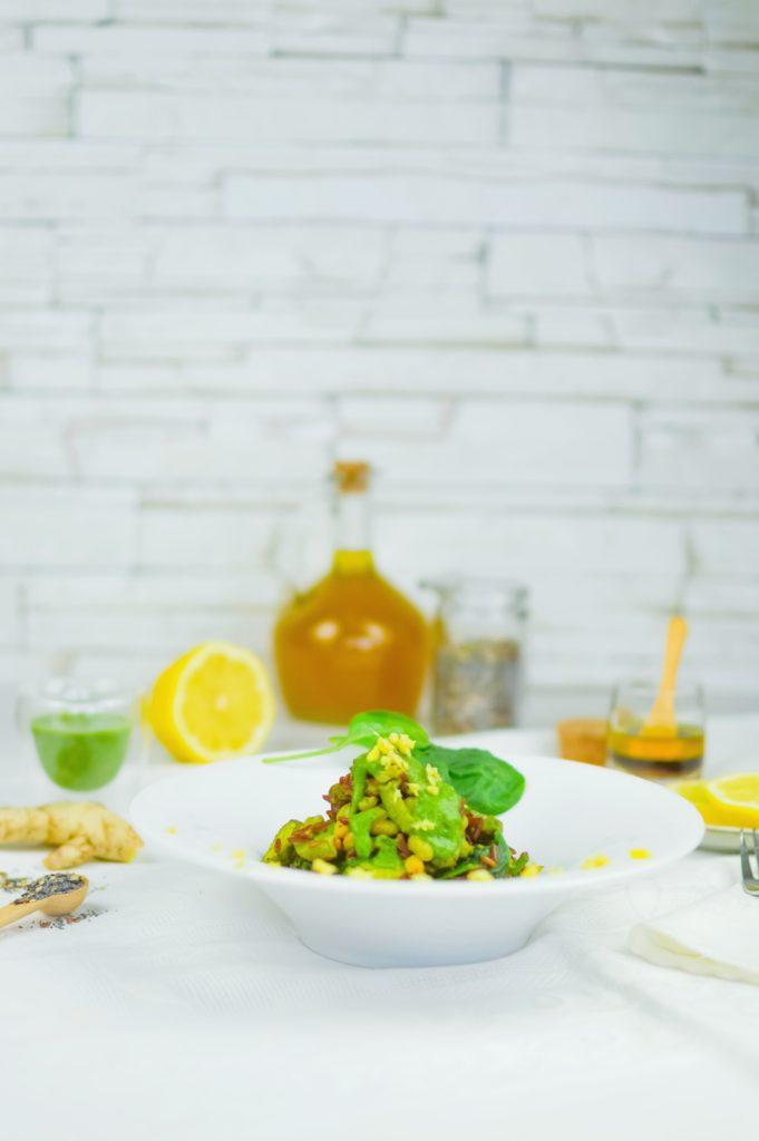 riso rosso con zucchine, spinaci e fagioli