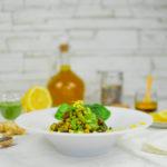 Riso rosso integrale con crema di zucchine e spinaci e fagioli tondino
