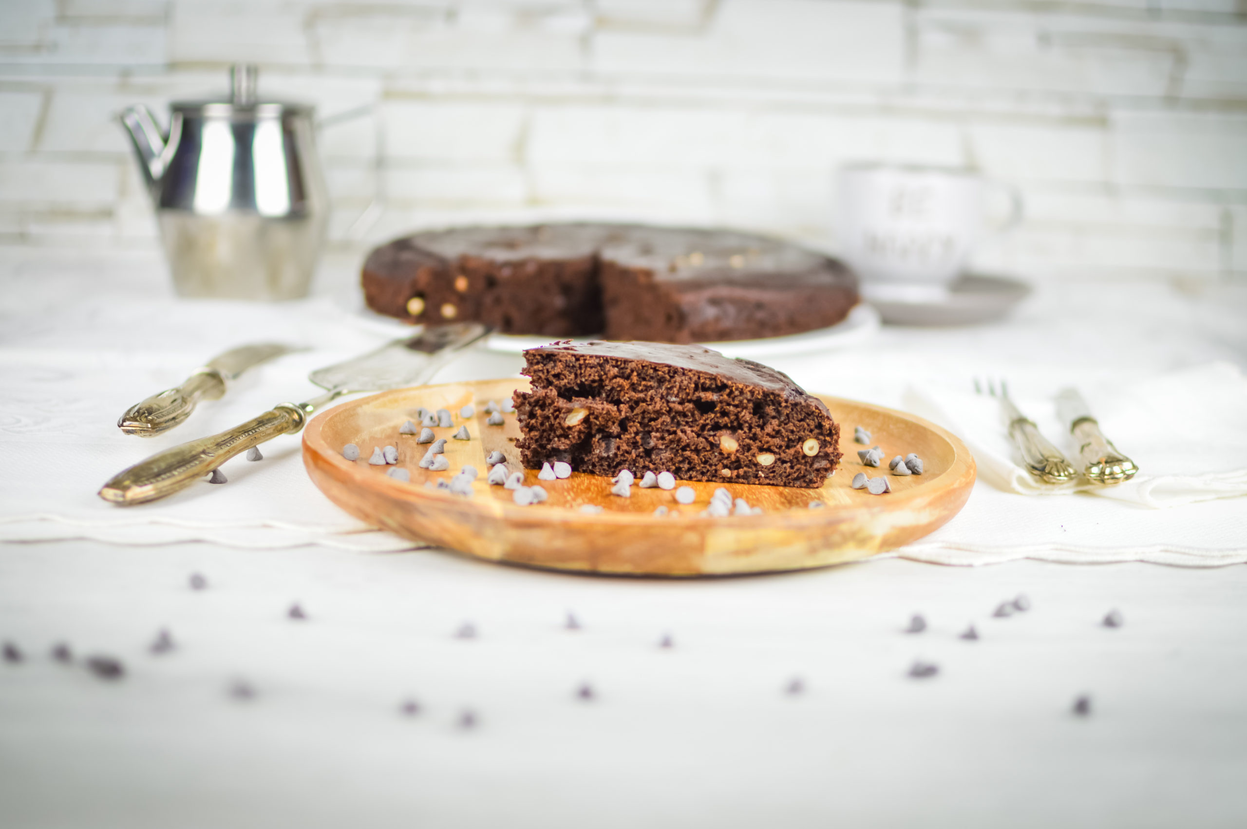 torta vegan cacao e pinoli
